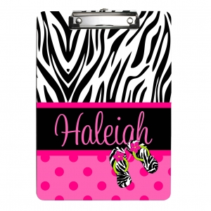 Zebra Polka Dots Personalized Clipboard