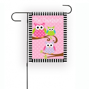 3 Owls Personalized Garden Flag