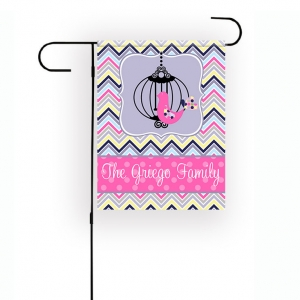 Bird Cage Chevron Personalized Garden Flag
