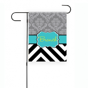 Damask Chevron Garden Flag