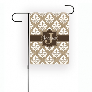 Damask Ikat Personalized Garden Flag