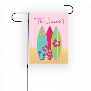 Surfboards Pink Personalized Garden Flag