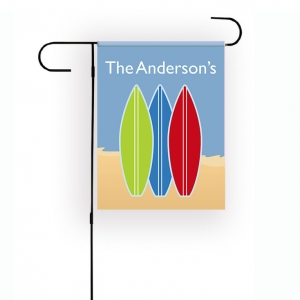 Surfboards Blue Personalized Garden Flag