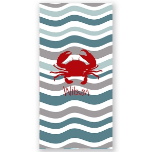 Crab Waves Beach Towel