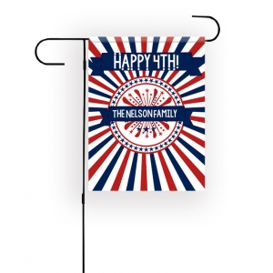 Red White and Blue 4th Of July Personalized Garden Flag