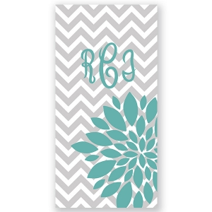 Chevron Flower Burst Personalized Beach Towel