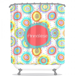 Flower Burst Personalized Shower Curtain
