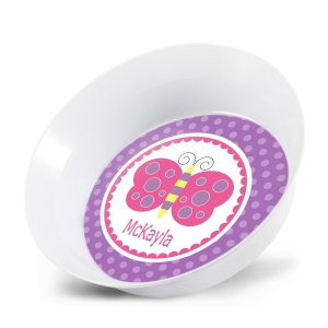 Ellie Butterfly Girls Personalized Bowl