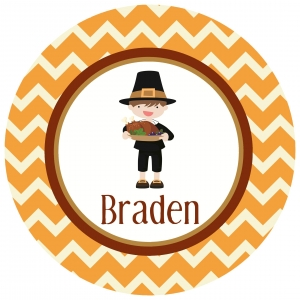 Pilgrim Boy Personalized Thanksgiving Plate