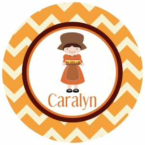 Pilgrim Girl Personalized Thanksgiving Plate