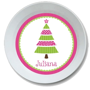 Pink Tree Personalized Christmas Bowl