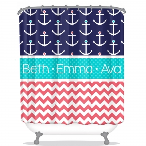 Anchors & Chevron Pattern Personalized Shower Curtain