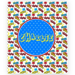 Superhero Personalized Velveteen Plush Blanket Throw