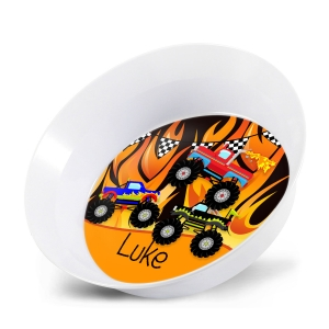 Monster Trucks Moto Flames Personalized Melamine Bowl