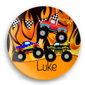 Monster Trucks Moto Flames Boys Personalized Plate