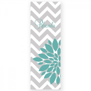 Chevron & Flower Personalized Yoga Mat