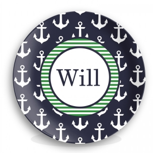 Anchors Navy Personalized Nautical Plate