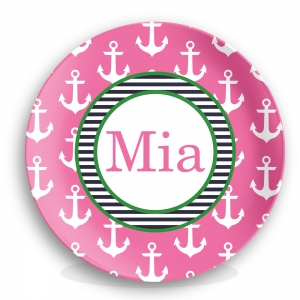 Anchors Pink Girls Personalized Nautical Plate