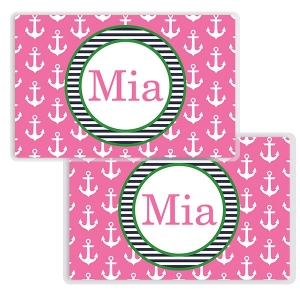 Anchors Pink Girls Personalized Nautical Placemat