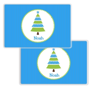 Blue Tree Personalized Boys Christmas Placemat