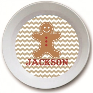 Gingerbread Man Personalized Kids Christmas Bowl