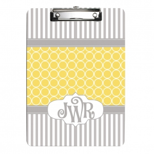 Gray Yellow Circle Stripes Personalized Clipboard