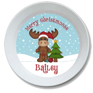 Merry Christmoose Personalized Kids Bowl