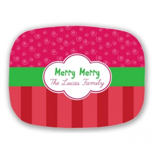 Merry Merry Personalized Holiday Christmas Platter