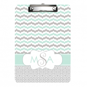 Mint Gray Greek Leaf Personalized Clipboard