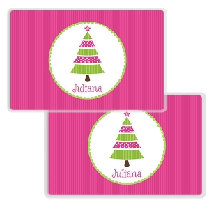 Pink Tree Personalized Girls Christmas Placemat