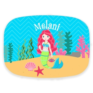 Little Miss Mermaid Girls Personalized Platter