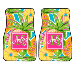 Personalized monogrammed car floor mats Preppy Pineapple