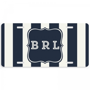 Brielle Stripes Personalized Car Tag - Decoritive License Plate