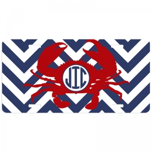 Chevron Crab Personalized Car Tag - Decoritive License Plate