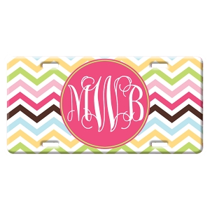 Cotton Candy Chevron Personalized Car Tag - Decorative License Plate