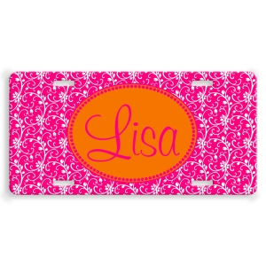 Floral Personalized Car Tag - Decoritive License Plate