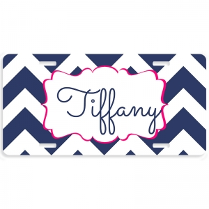 Large Chevron Pattern Personalized Car Tag - Decoritive License Plate
