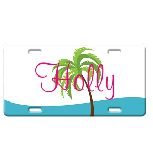 Palm Trees Personalized Car Tag - Decorative License Plate