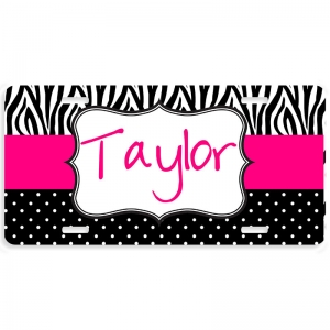 Zebra Polka Dot Pattern Personalized Car Tag - Decoritive License Plate