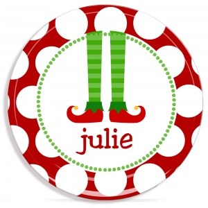 Elf Stocking Personalized Christmas Plate