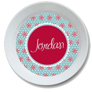 Peppermint Personalized Christmas Bowl