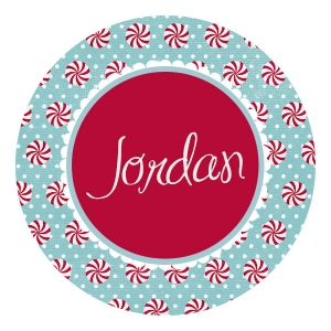 Peppermint Personalized Christmas Plate