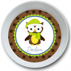 Snow Owl Personalized Christmas Bowl