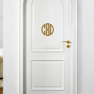 Circle Monogram Personalized Vinyl Door or Wall Decal