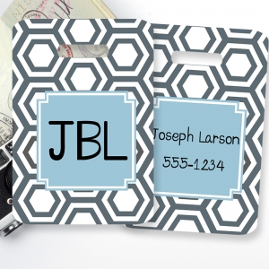 Hexagon Print Personalized Luggage Tag