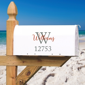 Classic Personalized Address & Initial Vinyl Mailbox Decal