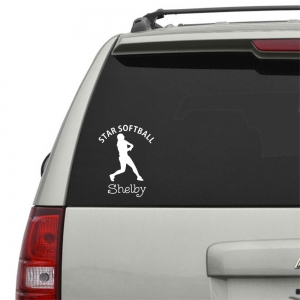 Softball Player 1 Personalized Car, Window, Door or Wall Decal