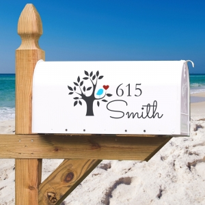 Bird Tree Name & Address Personalized Vinyl Mailbox Decal