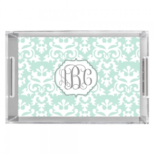 Vintage Damask Print Personalized Serving Tray
