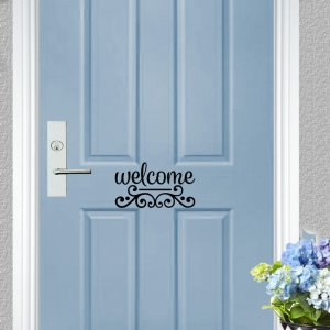 Welcome Scroll Vinyl Door Decal
